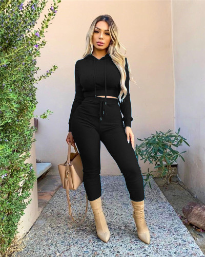Black Casual solid color ribbed hooded sports two-piece suit