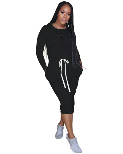 Black Classic simple casual solid color long sleeve dress