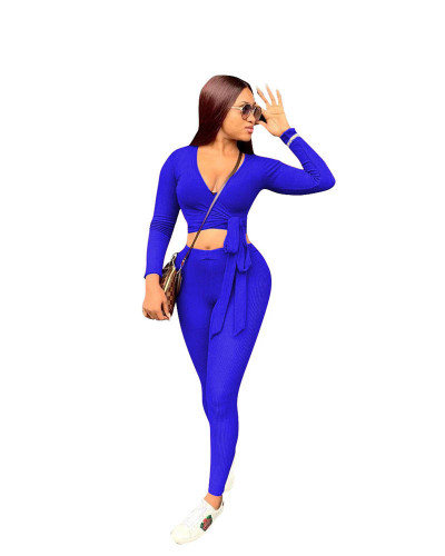 Bule Two-piece solid color ribbed straps slim fit
