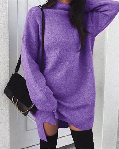 Violet Casual plus size loose knit high neck split dress