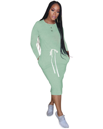 Light Green Classic simple casual solid color long sleeve dress