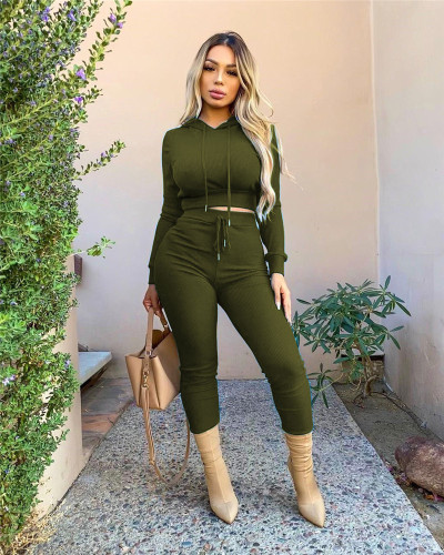 Army green Casual solid color ribbed hooded sports two-piece suit