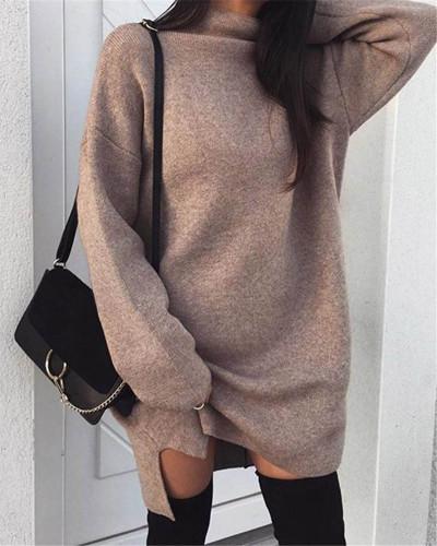 Khaki Casual plus size loose knit high neck split dress