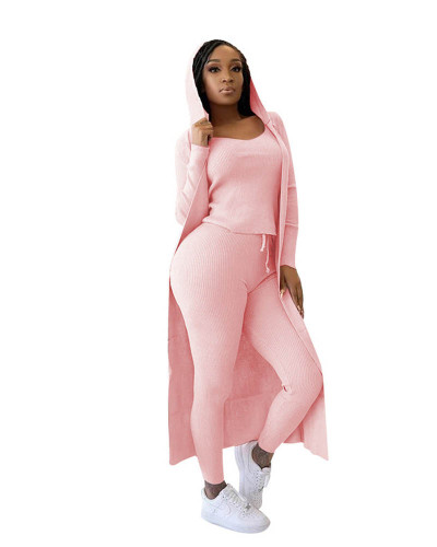 Pink Three-piece set of ribbed jacket, vest and pencil pants
