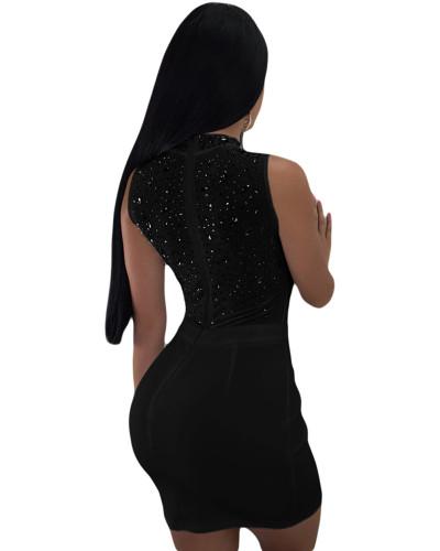 Black Sexy women's hot drilling mesh dress