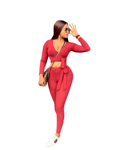 Red Two-piece solid color ribbed straps slim fit