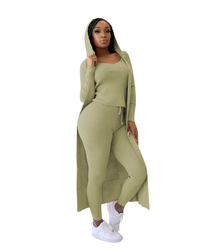 Army green Three-piece set of ribbed jacket, vest and pencil pants