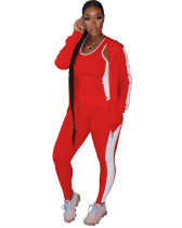 Red Fashion casual solid color sports 3-piece suit