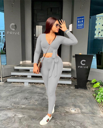 Gray Two-piece solid color ribbed straps slim fit