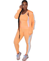 Orange Fashion casual solid color sports 3-piece suit