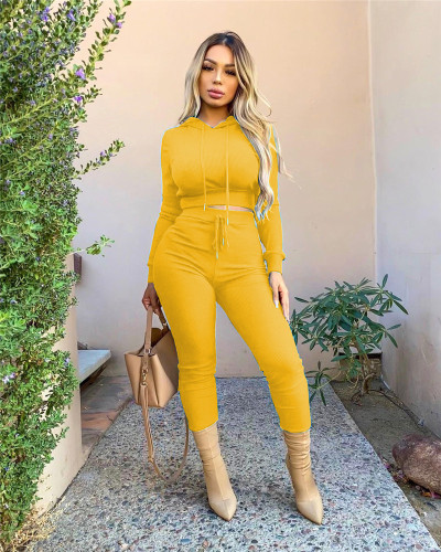 Yellow Casual solid color ribbed hooded sports two-piece suit
