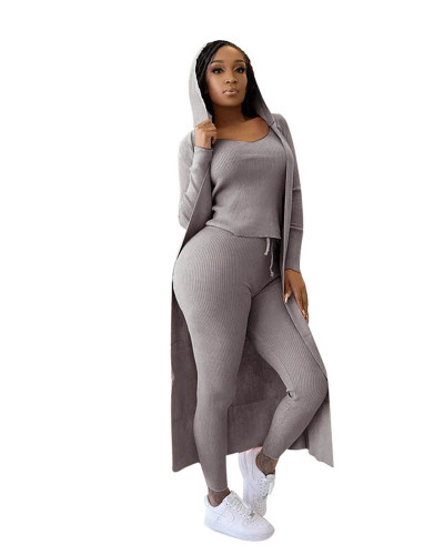 Gray Three-piece set of ribbed jacket, vest and pencil pants