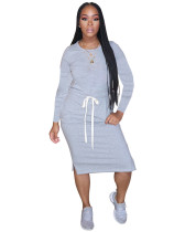 Gray Classic simple casual solid color long sleeve dress