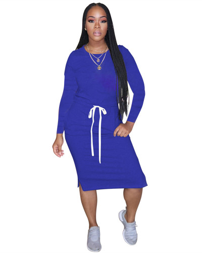 Blue Classic simple casual solid color long sleeve dress
