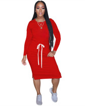 Red Classic simple casual solid color long sleeve dress