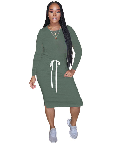 Green Classic simple casual solid color long sleeve dress