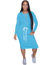 Light Blue Classic simple casual solid color long sleeve dress