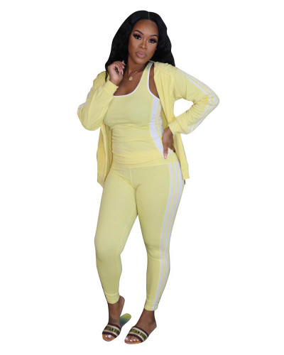 Yellow Casual solid color classic white ribbon sports hooded three-piece suit