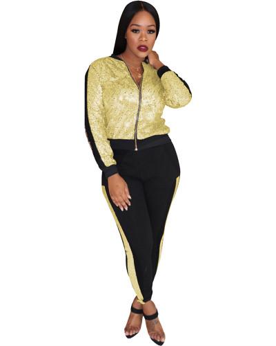 Gold Multicolor sequin stitching zipper suit