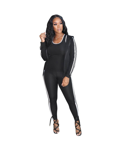 Black Casual solid color classic white ribbon sports hooded three-piece suit