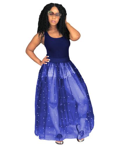 Blue Sexy loose beaded mesh tutu skirt