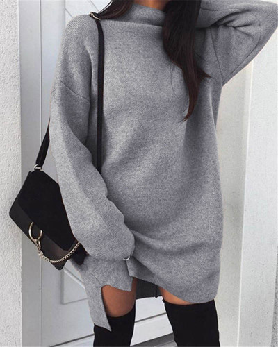 Gray Casual plus size loose knit high neck split dress
