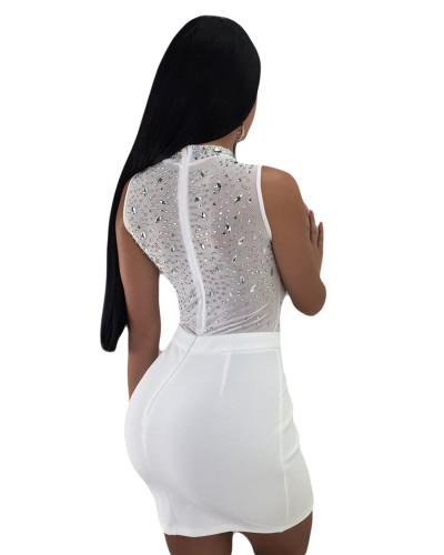 White Sexy women's hot drilling mesh dress