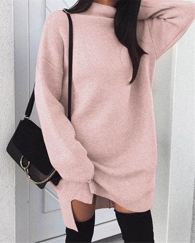 Pink Casual plus size loose knit high neck split dress