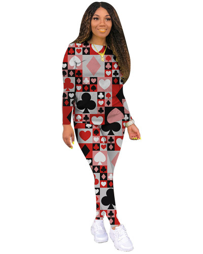 Red Classic casual poker multicolor long sleeve two-piece suit