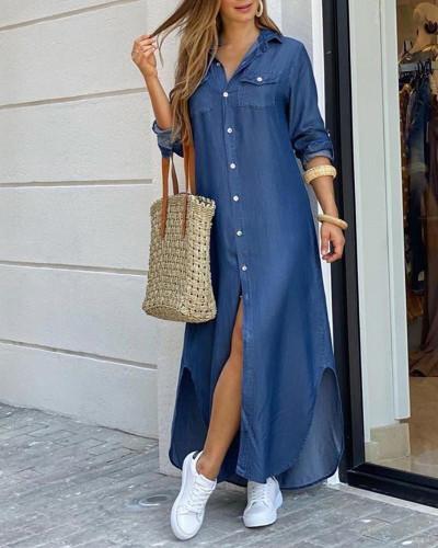 Bule Fashion sexy shirt long skirt dress
