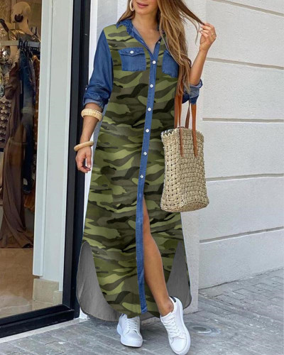 Camouflage Fashion sexy shirt long skirt dress