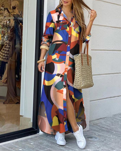 color Fashion sexy shirt long skirt dress