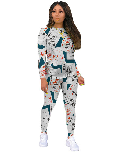 White Classic casual poker multicolor long sleeve two-piece suit