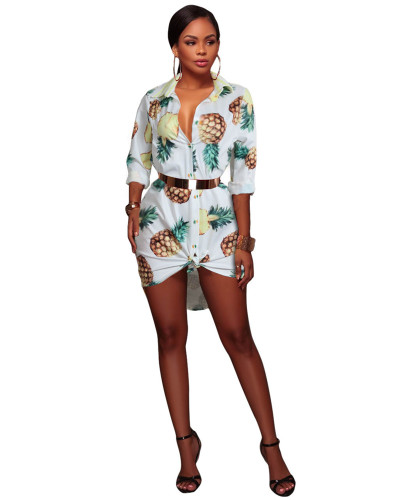 White Antique printed shirt dress without belt