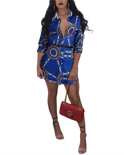Blue Antique printed shirt dress without belt