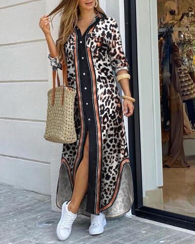 Leopard Fashion sexy shirt long skirt dress