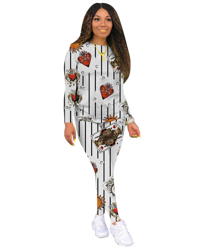 Light White Classic casual poker multicolor long sleeve two-piece suit