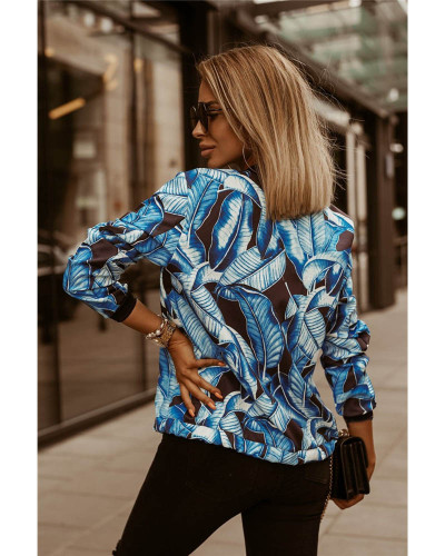 Dark bule Autumn and winter slim long-sleeved printed short jacket small coat women's clothing