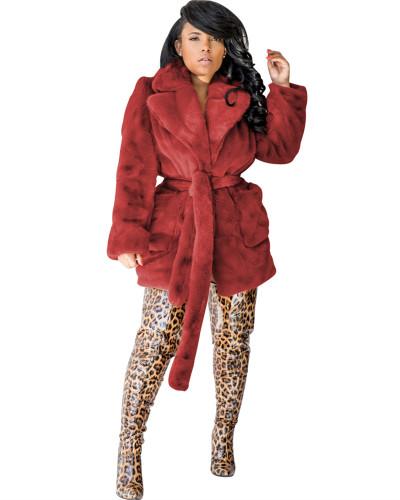 Red sexy fashion fur multicolor rabbit fur coat