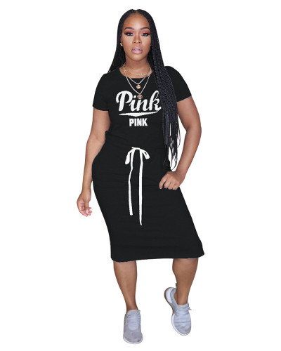 Black Classic letter PINK tie dress