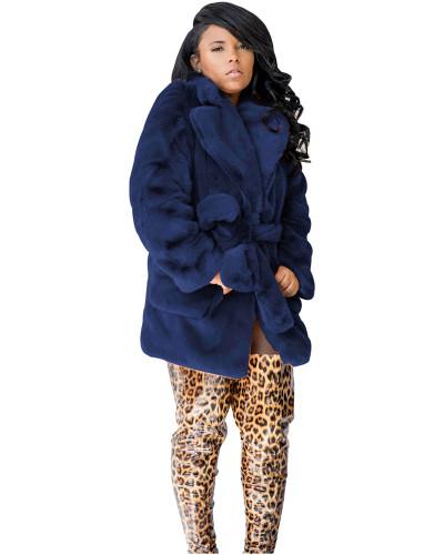 Blue sexy fashion fur multicolor rabbit fur coat