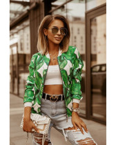 Green Autumn and winter slim long-sleeved printed short jacket small coat women's clothing