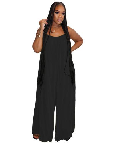 Black Fashion sexy suspenders solid color wide-leg jumpsuit