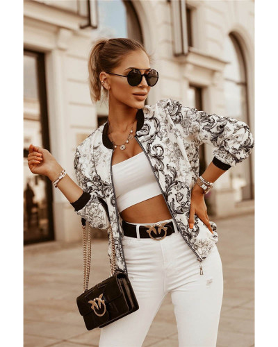 Black Autumn and winter slim long-sleeved printed short jacket small coat women's clothing
