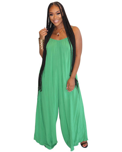 Green Fashion sexy suspenders solid color wide-leg jumpsuit