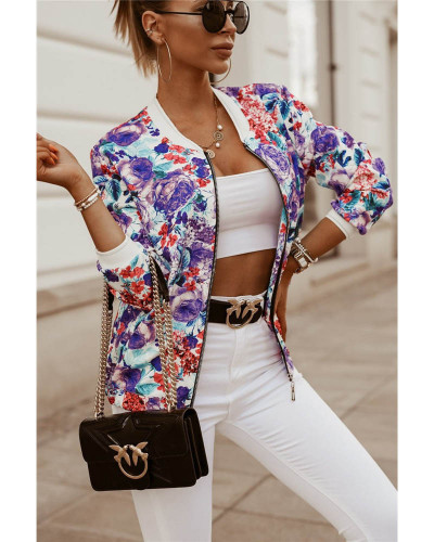 Violet Autumn and winter slim long-sleeved printed short jacket small coat women's clothing