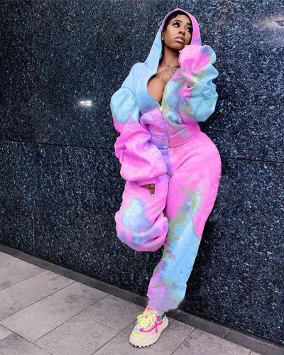 Pink Tie-dye printed padded guard hood sports two-piece suit