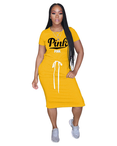 Yellow Classic letter PINK tie dress