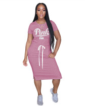 Pink Classic letter PINK tie dress