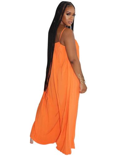 Orange Fashion sexy suspenders solid color wide-leg jumpsuit